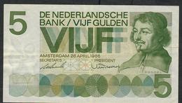 NETHERLANDS P90a 5 GULDEN 1966 VF NO Ph ! - 5 Florín Holandés (gulden)