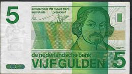NETHERLANDS P95a 5 GULDEN 1973 VF NO Ph ! - [2] 1815-… : Royaume Des Pays-Bas