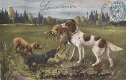 CPA Illustrée  Scène De CHASSE CHIENS La Capture Du LIEVRE Timbre 1904 - Caza