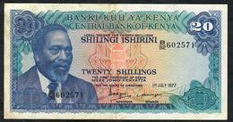 KENYA P13d 20 SHILLINGS 1977 XF-AU  NO P.h. ! - Kenya