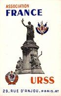 REF1803--2018  CARTE  ASSOCIATION FRANCE URSS 1954  RUE D ANJOU 29   PARIS 8° - Maps