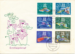 Germany DDR FDC 12-11-1976 Fish Guppy Complete Set Of 6 With Cachet - FDC: Enveloppes