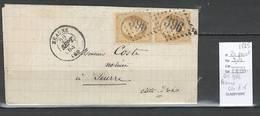 France - GC396 Beaune - Cote D'Or - Paire Sur Lettre Du Yvert 21 - 1865 - Postmark Collection (Covers)