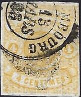 Armoires De L'Etat 1860, 4 Centimes Jaune, Cértifié FSPL, Catalogue Michel 2017: 5 (2scans) - 1859-1880 Armoiries