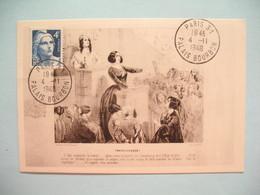 Carte Maximum - Card France  1948  Type Marianne De Gandon   N° 725   Cachet Paris - Palais Bourbon - 1940-49
