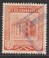 """Venezuela 1953 Caracas Central Post Office  Inscription """"CORREOS  EE. UU. VENEZUELA"""" 40c Orange SW 967 O Used - Venezuela"""