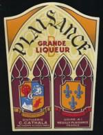 """Ancienne étiquette  Liqueur """"Plaisance"""" Distillerie C Cathala  Champs Elysées Paris, Usine à Neuilly Plaisance - Etiquettes"""