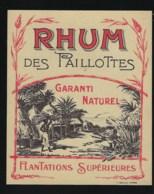 Ancienne étiquette   Rhum Des Paillottes Garanti Naturel  Olantations Supèrieures Imp  P Bofils Havre 76 - Rhum