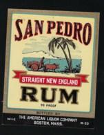 "Ancienne étiquette   Rhum  San Pedro Straight New England Rum "" Charette, Boeuf"" - Rhum"