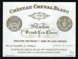 étiquette Vin  Chateau Cheval Blanc 1er Grand Cru Classé Saint Emilion 1980  Hritiers Fourcaud Laussac  Propriétaire - Bordeaux