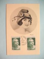 Carte Maximum - Card France  1949  Type Marianne De Gandon  Format 22x36  N° 730  Cachet Paris - Timbre Poste - Cartoline Maximum