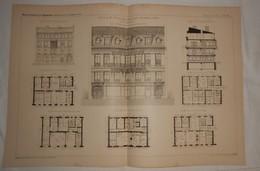 Plan De L'Hôtel De M. Vxxx, Notaire, Boulevard Voltaire à Paris. M. G. Brière, Architecte. 1887. - Travaux Publics