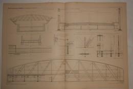 Plan D'un Pont Métallique Sur Le Canal Saint-Denis. 1887. - Travaux Publics