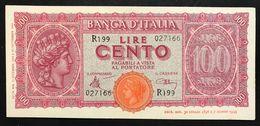 LUOGOTENENZA 1944  100 LIRE Italia Turrita Sup/fds  Lotto 2187 - Collezioni