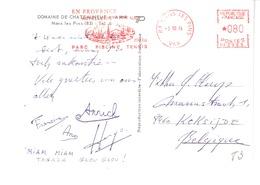 Marcophilie-EMA-Cachet Rouge-Nans-les-Pins (Var)-Hôtellerie-Parc-Piscine-Tennis-3-10-1974-sur C.P.Domaine De Châteauneuf - Freistempel
