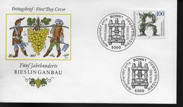 ALLEMAGNE  FDC  1990 Vins Vigne Riesling Raisins - Vins & Alcools