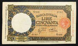 50 LIRE LUPETTA ROMA FASCIO I° TIPO 16 12 1936 Buona La Carta Peccato Per Un Taglietto LOTTO 2189 - 50 Lire