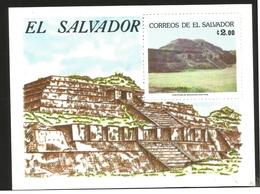 J) 1985 EL SALVADOR, ROULETTED, TAZUMAL RUINS, SOUVENIR SHEET, MN - El Salvador