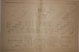 Plan De L'étude Générale Sur Les Escaliers En Fer. E. Barberot, Architecte. 1887. - Travaux Publics
