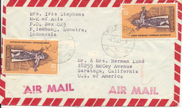 Indonesia Cover Sent To USA Topic Stamps On Front And Backside Of The Cover (cover Damaged On The Backside) - Indonesien