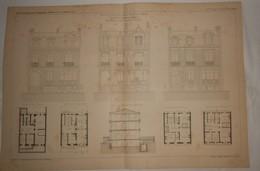 Plans De Petits Hôtels, Rue Weber à Paris. M.M. G. Brière Et E. Grémailly, Architectes. 1887. - Travaux Publics