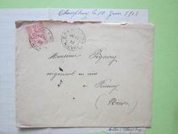 ENVELOPPE + LETTRE écrite à CHAMPLEMY (58) 12/06/1902 Obitérée CHAMPLEMY, NEVERS & PREMERY / Mouchon 15c Vermillon - Marcophilie (Lettres)