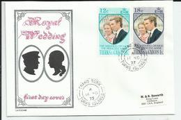 TURKS & CAICOS - 2 TIMBRES SUR ENVELOPPE CAD GRAND TURK CAD 14/11/1973 ROYAL WEDDING - Turks And Caicos
