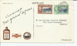 TRINITE & TOBAGO - 2 TIMBRES SUR CARTE POUR CAMBRAI PLASMARINE CAD 21/2/1952 - Trinidad & Tobago (1962-...)