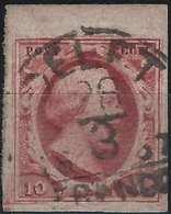NETHERLAND 1852 Guillaume III N°2  BDFeuille 10c Carmin Obl De DELFT, Belles Marges !! Superbe Signé Calves - Oblitérés