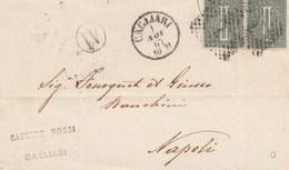 K26- VIA DI MARE- Involucro Per Stampati Del 1867 Da Cagliari A Napoli Via Livorno Con Coppia Cent. 1 Verde  DLR. - 1861-78 Victor Emmanuel II