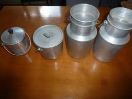 Lot De 4 Récipients En Aluminium ,dont 2 Pots A Lait  Et 2 Gamelles (vente à Choix Possible) - Autres