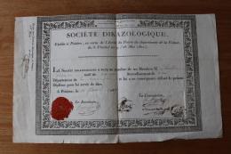 1817   Diplome De La Societe Dikazologique  Belel Frise Et Cachet De Cire  POITIERS - Documentos Históricos