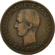 Monnaie, Grèce, George I, 10 Lepta, 1869, Strassburg, SUP, Cuivre, KM:43 - Grèce