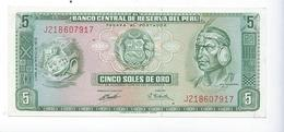 Billet Pérou 5 Soles De Oro 1972 - Pérou