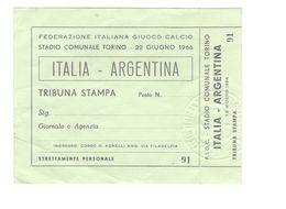 22 GIUGNO 1966 - TORINO - ITALIA Vs ARGENTINA - STADIO COMUNALE - BIGLIETTO CALCIO - Match Tickets