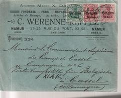 1.WW, Kriegsgefangenensendung ? Namur - Kassel,  Commandant  Der Belg. Verteilungsstelle - WW I