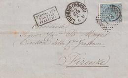 K22  VIA DI MARE - Involucro Del 1867 Da Cagliari A Firenze Via Livorno Con Cent 20 Su 15 2° Tipo. - Marcophilie