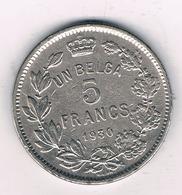 5 FRANCS 1930 FR   BELGIE /4612G/ - 1909-1934: Albert I