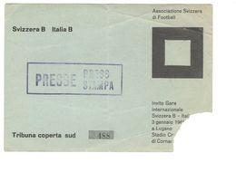3 GENNAIO 1960 - LUGANO - SVIZZERA B Vs ITALIA B - STADIO COMUNALE DI CORNAREDO - BIGLIETTO CALCIO - Biglietti D'ingresso