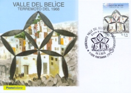 Italia 2018 Maximum Card FDC 50° Anniversario Terremoto Della Valle Del Belice Annullo Di Partanna Earthquake - Altri