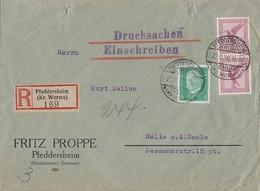 DR Drucksache-R-Brief Mif Minr.2x A379,411 Pfeddersheim 22.11.30 Seltene Portostufe - Briefe U. Dokumente
