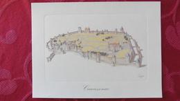 Carcassonne :Gravure Sur Papier Ivoire - Autres Collections