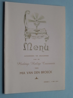 Plechtige H. COMMUNIE Van Mia VAN DEN BROECK Herselt 7 Mei 1961 ( Zie Foto's ) ! - Menus