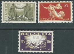 1919 SVIZZERA COMMEMORATIVI DELLA PACE 3 VALORI MH * - I57-3 - Nuovi