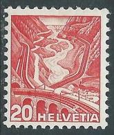1936 SVIZZERA VEDUTE 20 CENT II TIPO CARTA GROFFATA MH * - I57-8 - Svizzera