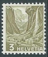 1936 SVIZZERA VEDUTE 3 CENT CARTA GROFFATA MNH ** - I57-8 - Svizzera