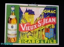 POC1    019  . COGNAC  VIEUX ST JEAN  D'angely SICARD ET FILS.. Carton Dur 32x24  PARFAIT ETAT Vignes Distillerie.. - Alcoholes