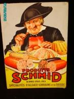 POC1    026  . .PUBLICITE. SCHMID SPECIALITES SUISSES  ET ALSACE LORRAINE  Signé Charles GARRY Carton 40x28  Gastronomie - Paperboard Signs