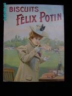 POC1    027  Tres Rare PUBLICITE  1900  De  FELIX POTIN  BISCUITS  POLO  CHAMPAGNE PHENIX  Joueurs   CARTON 50x40   . . - Alcoholes