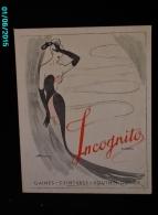 POC1   034   .GAINES INCOGNITO  VETEMENTS MODE FEMME  Signé MERVEY  SOUTIEN GORGE ROUBAIX  Carton Dur 30 X 23 - Paperboard Signs